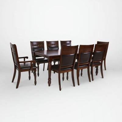 Juego de comedor 6 sillas + 2 sitiales 180x106 Caoba