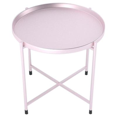 Mesa lateral metal 46x42 cm rosada