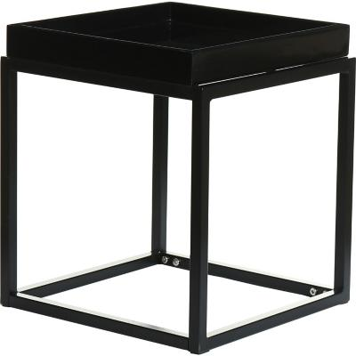 Mesa lateral metal 40x40x46 cm negra