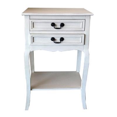 Velador mesa 2 cajones blanco