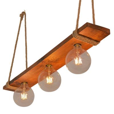Lámpara colgante cielo madera 3 luces
