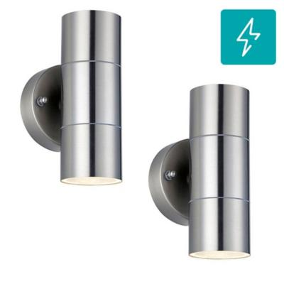Pack 2 aplique led pared exterior aluminio/cristal transparente plata