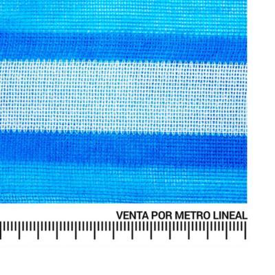 Malla rachel para sombra azul blanco metro lineal