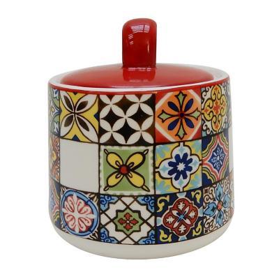 Azucarero mosaico rojo