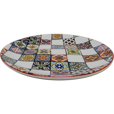 Plato ensalada 22 cm mosaico rojo