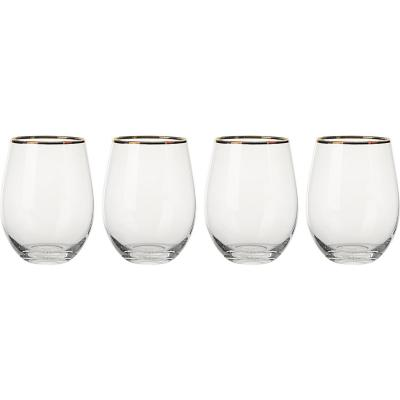 Set de 4 Vasos Borde Dorado 500 ml