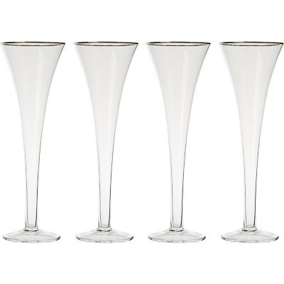 Set de 4 Copas Champaña Borde Dorado 180 ml