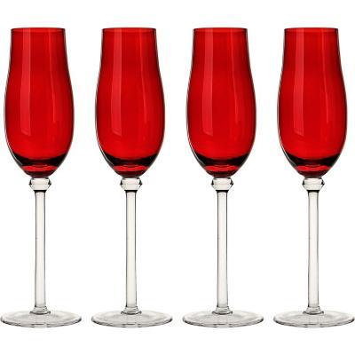 Set de 4 Copas Champaña Roja 250 ml