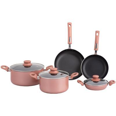 Batería de cocina 8 piezas antiadherente rosa
