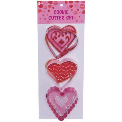 Set 3 cortadores galleta con forma corazón