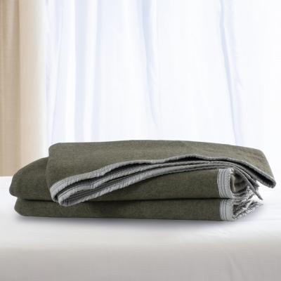 Frazada lana doble faz especial 1.5 p verde gris