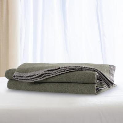 Frazada 100% lana doble faz 1.5 plazas verde gris