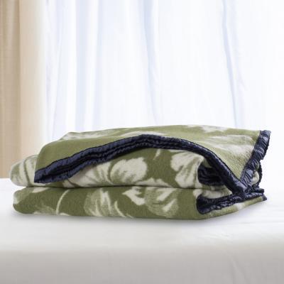 Frazada 100% lana jacquard 2 plazas verde blanco