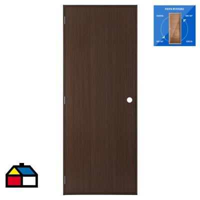 Puerta madera foliada Nogal precolgada Dual 80 x 200 cm