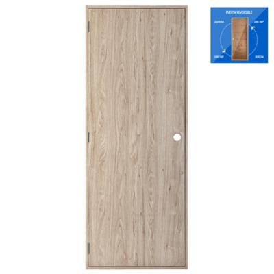 Puerta madera foliada Hacienda precolgada Dual 70 x 200 cm