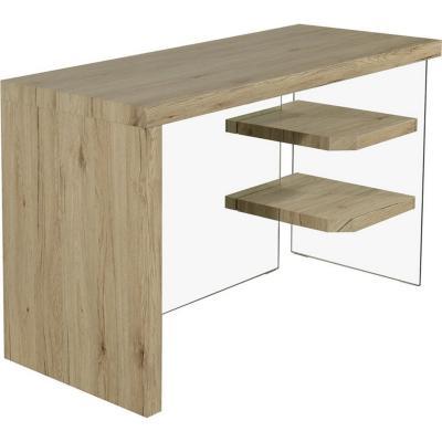Escritorio 120x50x76 cm madera/vidrio templado