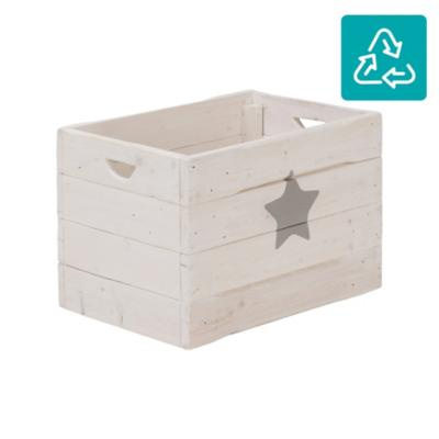 Cajón madera reciclada con ruedas 58x38x40 cm