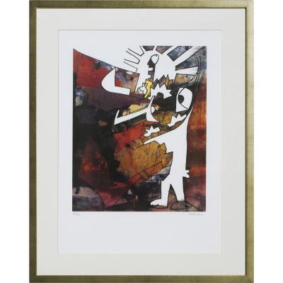 Cuadro Obrero con Patrón artista Bororo 68x88 cm