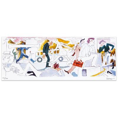 Grabado Plaza Italia artista Andrés Gana 54x100 cm