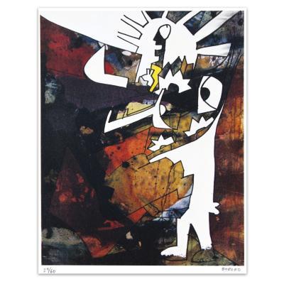 Grabado Obrero con Patrón artista Bororo 50x70 cm