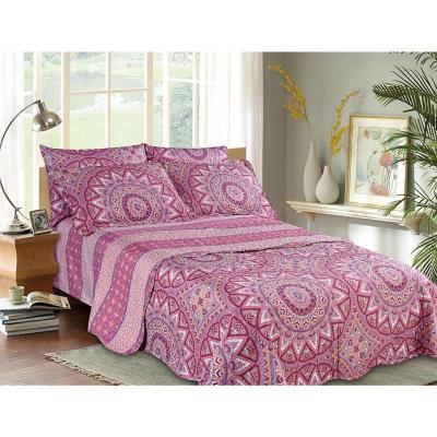 Quilt+sábana mándala rosado 1,5 plazas