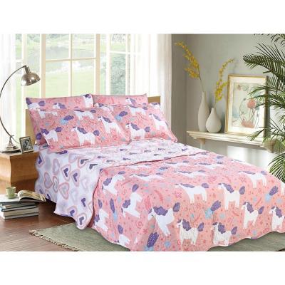 Quilt+sábana unicornio rosado 1,5 plazas