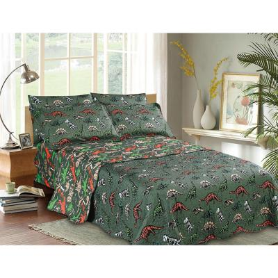 Quilt+sábana dinosaurio verde 1,5 plazas