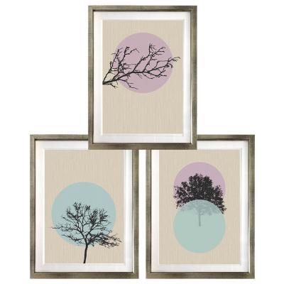 Set 3 cuadros siluetas árbol 40x50 marco plateado