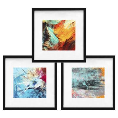 Set 3 cuadros abstracto colores 80x80 marco negro