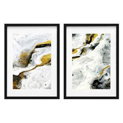 Set 2 cuadros abstracto negro 40x50cm marco negro