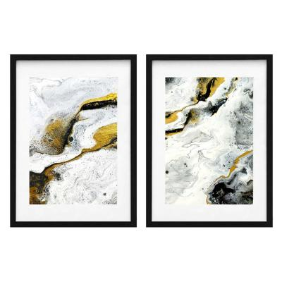 Set 2 cuadros abstracto negro 50x70cm marco negro