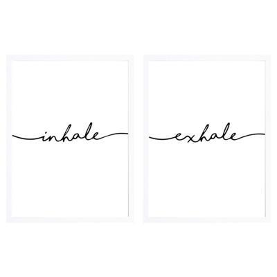 Set 2 cuadros inhale-exhale 65x90cm marco blanco
