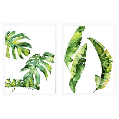 Set 2 cuadros hojas tropicales 50x70 marco blanco