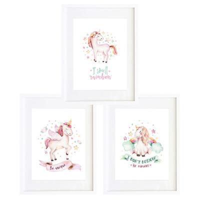 Set 3 cuadros unicornios 30x40cm marco blanco