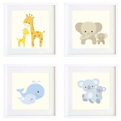 Set 4 cuadros sweet animals 30x30cm marco blanco