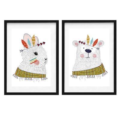 Set 2 cuadros oso y conejo 40x50cm marco negro