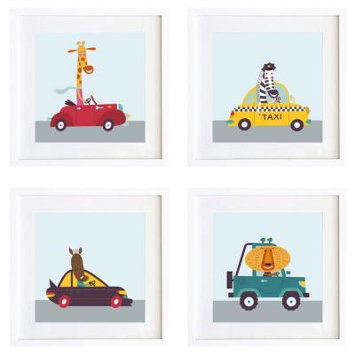 Set 4 cuadros autos 30x30 cm marco blanco