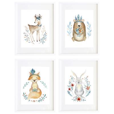 Set 4 cuadros animales y flores 30x40 marco blanco