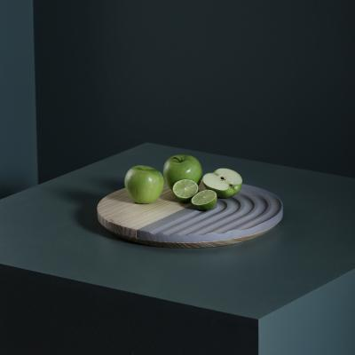 Tabla pino alistonado redonda 35 cm gris claro y natural