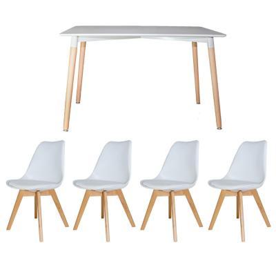 Juego de comedor eames + 4 silla blanca con cojín