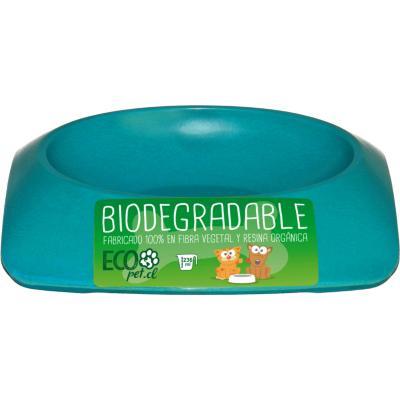 Plato de comida para mascota pequeño biodegradable Celeste