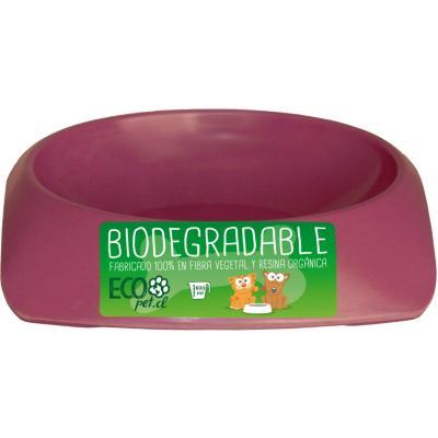 Plato de comida para mascota grande biodegradable Morado