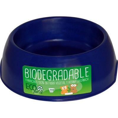Plato de comida para mascota grande biodegradable Azul