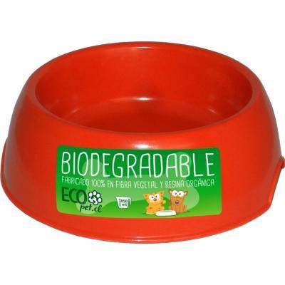 Plato de comida para mascota grande biodegradable Rojo