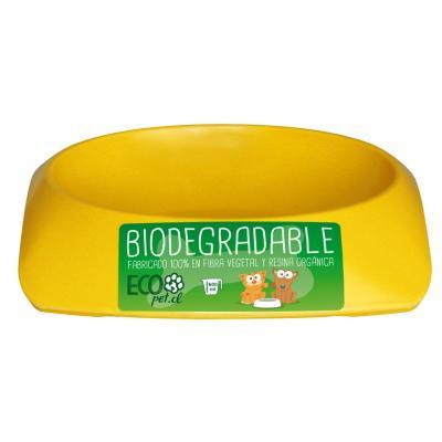 Plato de comida para mascota grande biodegradable Amarillo