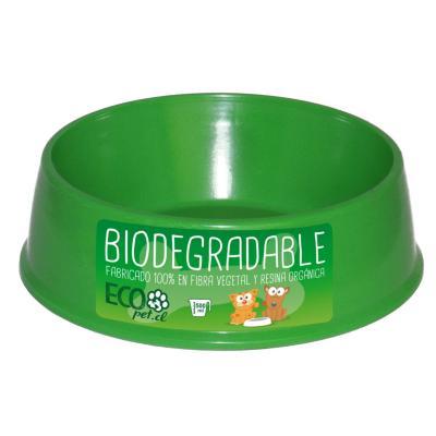 Plato de comida para mascota pequeño biodegradable Verde
