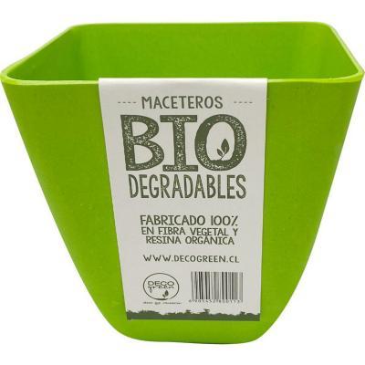 Macetero cuadrado de fibras naturales 13,3x13,3x12,4 cm Verde