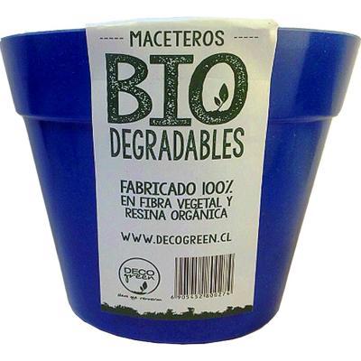 Macetero redondo de fibras naturales 13,7x13,7x10,3 cm Azul
