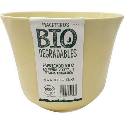 Macetero redondo de fibras naturales 16,5x16,5x13 cm Beige