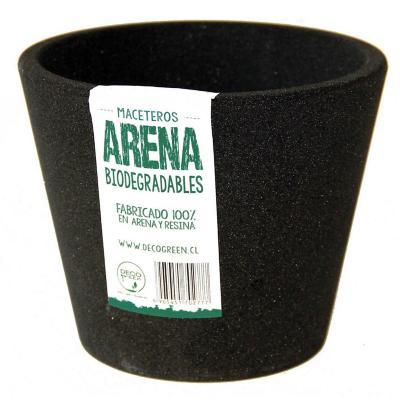 Macetero redondo de fibras naturales 15X15X13 cm Negro